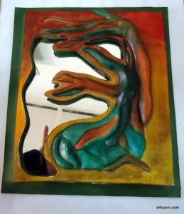 espejo decorado cuero artcuero